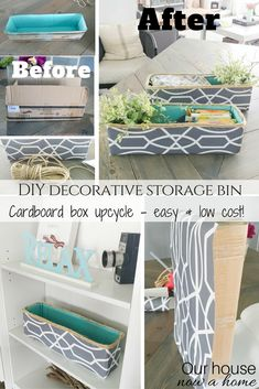 DIY decorative storage bin, simple craft recycle project. Perfect way to hide kids toys with this cardboard box upcycle. Low cost decor idea, and a quick way to organize the home!