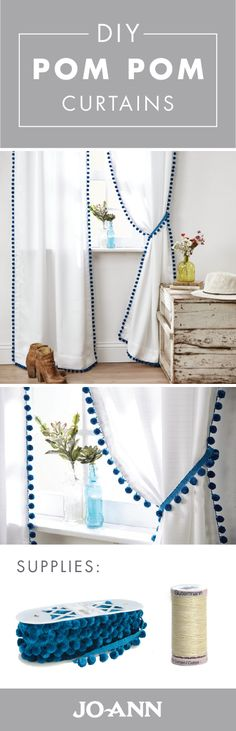 Looking to transform your plain, white curtains? Give them a style makeover thanks to pom pom trim from Jo-Ann! Grab your sewing machine to tackle this simple weekend project for DIY Pom Pom Curtains. - Easy Diy Home Decor Pom Pom Curtains, No Sew Curtains, White Curtains, Boho Curtains, Scarf Curtains, Custom Curtains, Colorful Curtains, Weekend Projects, Home Projects