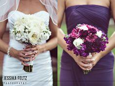 purple and white bouquet, purple wedding flowers, purple bridesmaids dresses