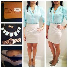 Mint Blouse with Khaki Skirt