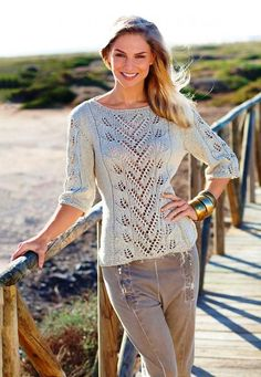 Blattmusterpulli in Leinen - Lilly is Love Summer Knitting, Lace Knitting, Gilet Crochet, Knit Crochet, Crochet Woman, Cardigan Pattern, Knit Patterns, Crochet Clothes, Knitwear