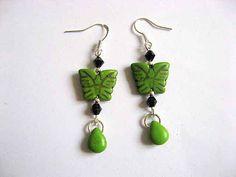 Green Earrings, Drop Earrings, Butterfly, Handmade, Jewelry, Hand Made, Jewlery, Jewerly, Schmuck