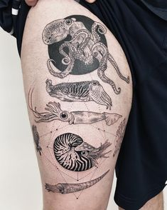 Image may contain: one or more people Ocean Life Tattoos, Ocean Sleeve Tattoos, Octopus Tattoos, Nature Tattoos, Tattoo Life, Bild Tattoos, Cute Tattoos, Beautiful Tattoos, Body Art Tattoos