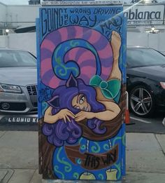 Here's a Trippy Alice In Wonderland Piece by Peachie Paws & Deviant Art @deviantart @deviant.a.r.t. on this Local Utility Box on Rose Ave. & Lincoln Blvd. in The WestSide Los Angeles Neighborhood of East Venice (Venice Beach - Adjacent to Santa Monica's Ocean Park Neighborhood), California.