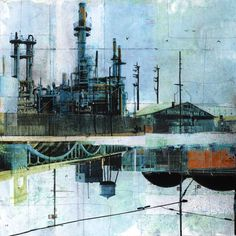 STEEL MECCA - Fine art reproduction - 17 x - Signed by the artist by lizbrizzi Urban Landscape, Landscape Art, Anime Comics, Decay Art, Industrial Paintings, A Level Art, Architecture Drawings, Urban Architecture, Paintings I Love