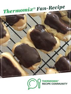 CREAM FILLED ECLAIRS WITH CHOCOLATE GANACHE by Madelene Ramsay. A Thermomix <sup>®</sup> recipe in the category Baking - sweet on www.recipecommunity.com.au, the Thermomix <sup>®</sup> Community.