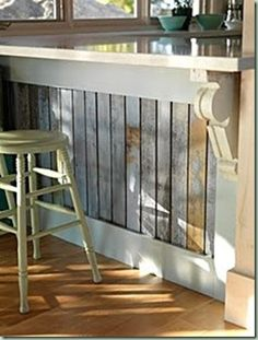 vintage barn board island or on a Bar - maybe briean could do this with the old shanti barn boards . . .