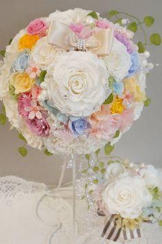 画像1: ミニーブーケ ラウンド スワロ&パールフリンジ 花のみ22cm