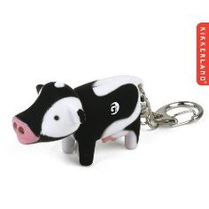 Kikkerland Moo - Cow keychain with blue LED light and moo sound. One color logo only. As low as $4.10