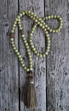 Long Tassel Necklace with Hand Carved Bone Beads by NORDeastHOME