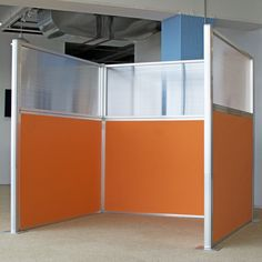 Our slide-and-go cubicles assembly quick and look… Create instant office privacy. Our slide-and-go cubicles assembly quick and look super stylish in our orange acoustical fabric. Office Pods, Office Setup, Office Ideas, Office Chairs, Bedroom Furniture Sets, Cafe Furniture, Bedroom Sets, Furniture Design, Bedroom Decor