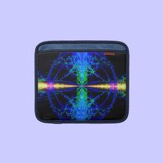 Blue Fractal Art iPad Sleeve by OffMyFrontPorch