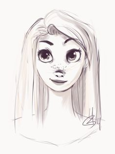 Rapunzel Sketch by ditto9 on deviantART  // This is so cute!!
