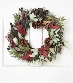 Blooming Autumn Pinecone Oliver Twig Leaves Wreath