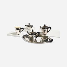Carlo Alessi / Bombé tea and coffee service < Lawrence Laske: Design Studio and Collected Works, 24 October 2014 < Auctions 24 October, Coffee Service, Alessi, Sugar Bowl, Silver Plate, Tea Pots, It Works, Auction, Product Design
