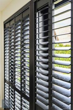 Kitchen Shutters, Interior Window Shutters, Black Shutters, Diy Shutters, Faux Blinds, Black Blinds, Living Room Partition Design, Room Partition Designs, Home Window Grill Design