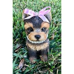 Lovable Yorkshire Terrier Puppy Yorkie Girl Collectible Figurine with Rhinestone Collar Amazing Sweet Dog Resemblance Hand Painted Resin 6.5 inch Figurine Great for Cute Dog Lovers Table Home Decoration Gift