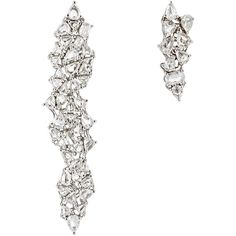 Monique Péan Atelier Women's White Diamond Mismatched Drop Earrings ($35,620) ❤ liked on Polyvore featuring jewelry, earrings, no color, long earrings, 18 karat gold jewelry, post earrings, long drop earrings and white diamond earrings