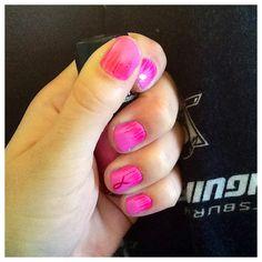 Breast cancer awareness nail design