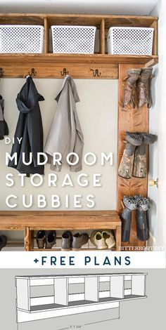 DIY Mudroom Storage Cubbies – free plans – build these awesome storage cubb… Wow! DIY Mudroom Storage Cubbies – free plans – build these awesome storage cubbies with built-in boot rack and lots of space for hanging coats Coat Storage, Cubby Storage, Mudroom Storage Ideas, Diy Entry Storage, Shoe Organizer Entryway, Hanging Storage, Boot Rack, Mudroom Laundry Room, Mudroom Cubbies