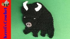 In this crochet tutorial video I'll be showing you how to make this crochet buffalo. If you would like to view the crochet pattern for free, it's on my websi. Crochet Applique Patterns Free, Crochet Motif, Crochet Hooks, Crochet Appliques, Cute Crochet, Crochet Baby, Knit Crochet, Half Double Crochet, Single Crochet
