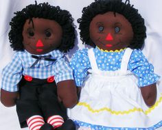 Black Raggedy Ann and Raggedy Andy Plush Doll by FindUrHappyPlace, $85.00