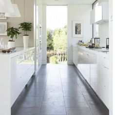Gloss white galley kitchen. More at: http://www.myhomerocks.com/2012/06/galley-kitchens-ahoy/# #homedesign