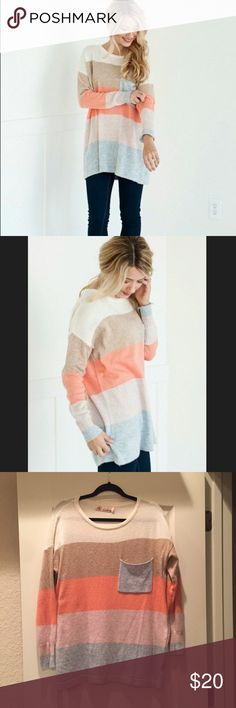 Peach and Tan Color Block Sweater Tunic - Size Small with a purposeful oversized fit. Could fit a medium with a slightly tighter fit  - Viscose/Poly blend - In excellent condition, no pulls or stains - Comes from a smoke free home Sweaters Crew & Scoop Necks