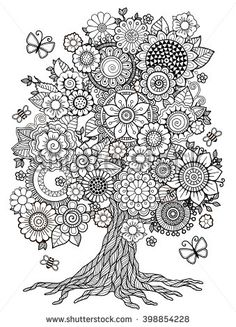 Blossom Tree. Coloring Book For Adult. Doodles For Meditation. Raster copy