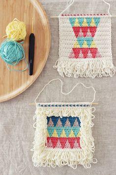 tapestry crochet wall hangings by Pirjo M