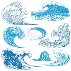Collection of waves in different techniques. Wave Elements royalty-free wave elements stock vector art & more images of blue No Wave, Wave Drawing, Painting & Drawing, Art And Illustration, Illustration Techniques, Watercolor Illustration, Desenho Tattoo, Wave Art, Surf Art