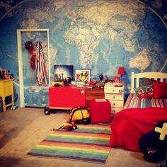 Wallpaper in a teenage bedroom