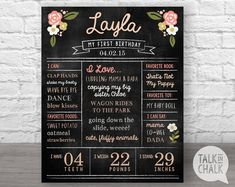 WELCOME to Talk In Chalk Shop! This listing is for a personalized first birthday chalkboard sign. (DIGITAL FILE ONLY) Your poster can be customized with your little girl's details. These chalkboard signs make great photo props and add a sweet dainty touch to your little one's birthday celebration! Please CAREFULLY read the points below before purchasing! ♦ ALL ITEMS in my shop are DIGITAL FILES ONLY. ♦ No physical poster/sign is shipped in the mail. ♦ This item is shipped via email or ...