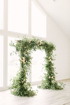 A Wedding Draped Head to Toe in Greenery Greenery wedding arch: Photography: Mustard Seed - www. Wedding Altars, Wedding Ceremony, Wedding Chuppah, Outdoor Ceremony, Wedding Arch Greenery, Rustic Wedding Arches, Floral Wedding, Wedding Flowers, Green Wedding