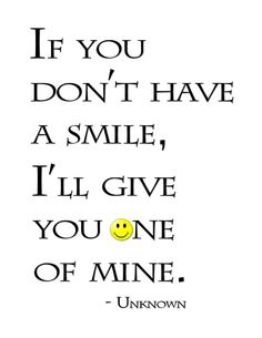 "Blog post at BitsofPositivity.com : Here's a word-art freebie from the quote ""If you don't have a smile, I'll give you one of mine."" Unknown To download word art, click [..]"