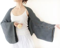 Crochet Inspiration ~ this would be so easy to crochet {Long Sleeves Cotton Shrug Bolero / Poncho with Coconut by oOlives,etsy}