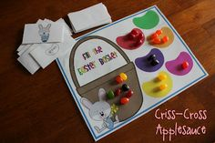 SUCH a cute Easter math game! A printable from Criss Cross Applesauce blog.