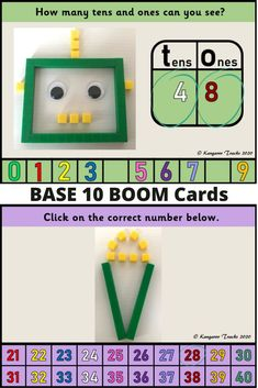 These 32 digital task cards (Boom Cards) help students to count in tens and ones to gain an understanding of place value. Students will practice counting, reading and decomposing (partitioning) numbers from 1-50. #Boomcards #digitaltaskcards #placevalue #gradeonemath #base10activities #placevaluefirstgrade #firstgrademath #base10 #year1maths #decomposingnumbers #partitioningnumbers First Grade Math, Grade 1, Number Grid, Year 1 Maths, Place Value Activities, Teen Numbers, Tens And Ones, Decomposing Numbers, Australian Curriculum