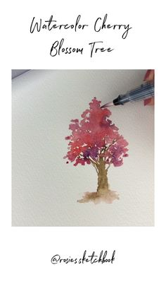 Blossom Tree Tutorial A quick cherry blossom watercolor tree tutorial.Cherry Blossom Tree Tutorial A quick cherry blossom watercolor tree tutorial. Cherry Blossom Watercolor, Cherry Blossom Tree, Watercolor Trees, Blossom Trees, Watercolor Cards, Cherry Tree, Abstract Watercolor, Watercolor Painting Techniques, Watercolor Video