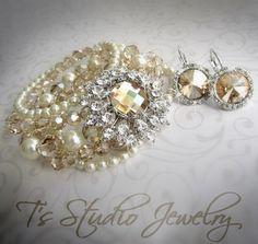 Vintage style multi strand pearl & crystal cuff bridal bracelet