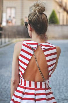 red and white striped open back dress