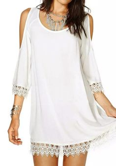 White Lace Trim Dress- With Scoop Neckline.  I would wear this dress as a top with a maxi skirt or gypsy pants