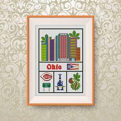 BUY 2, GET 1 FREE! Ohio cross stitch pattern, Travel cross stitch pattern, Little Ohio, U.S. state, State of Ohio, #P307 by NataliNeedlework on Etsy