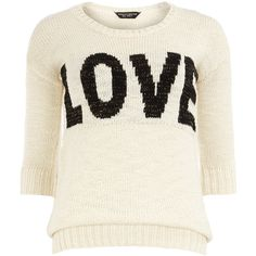 Ivory love jumper (610 HNL) ❤ liked on Polyvore featuring tops, sweaters, white, chunky sweater, dorothy perkins, chunky white sweater, ivory top and white jumper