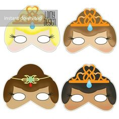 Cute princess party masks Available etsy shop https://www.etsy.com/shop/LomyDesign?ref=hdr_shop_menu #princess #queen #party #mask #printable