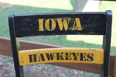 Hand painted Iowa Hawkeye Chair painted by ME :) Iowa Hawkeyes, Hawks, Outdoor Furniture, Outdoor Decor, Hand Painted, Chair, Painting, Home Decor, Decoration Home