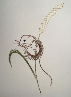 Field Mouse Paper Embroidery by *pinkythepink