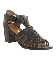 Office Dahlia Weave Sandal Black Leather - Mid Heels
