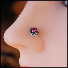 Nose Stud / Ruby Nose Screw / All Tangled Up with Rubies Sterling Silver . Nose Screw, Nose Jewelry, Nose Stud, Vintage Vibes, Body Mods, Girls Best Friend, Ear Piercings, Tangled, Color Pop