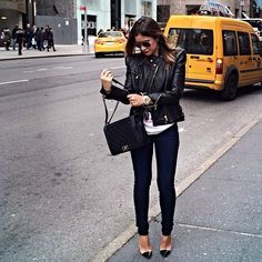 black leather motorcycle jacket + white tee + skinny jeans + heels + quilted Chanel bag